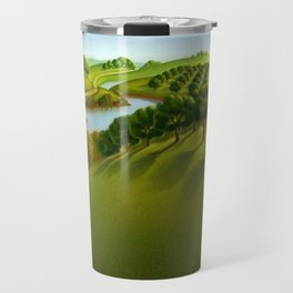 Classical Masterpiece 'The Plains' by Grant Wood Travel Mug