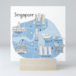 Mapping Singapore - Blue Mini Art Print