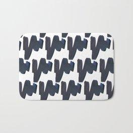 Navy blue black abstract watercolor zigzag brushstrokes pattern Bath Mat