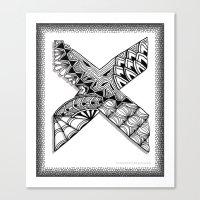 xmen Canvas Prints featuring Zentangle X Monogram Alphabet Illustration by Vermont Greetings