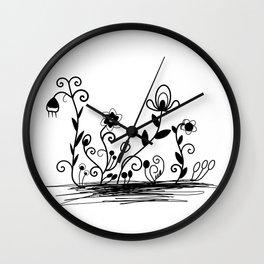 B&W floral Wall Clock