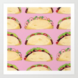 Quirky Taco Pattern in Pink by Elizabeth Caparaz Art Print