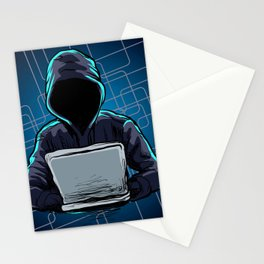 Computer hacker spread a net Stationery Cards