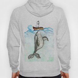 Cute whale and boat watercolor Hoody