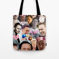 tom hiddleston Tote Bags featuring Tom Hiddleston/Loki Collage by chiefmarvelous