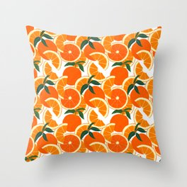 Orange Harvest - White Throw Pillow