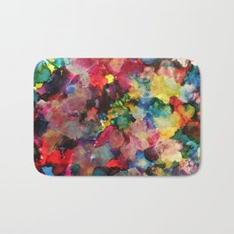 Color Burst - abstract iridescent painting in yellow, red, blue, pink and green Bath Mat