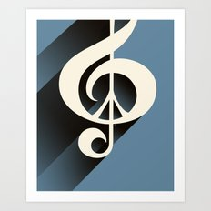 Steal Blue Retro Music & Peace Art Print