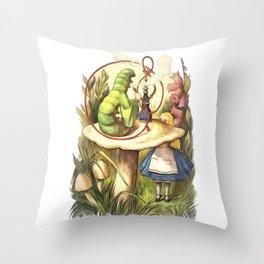 Alice & The Hookah Smoking Caterpillar - Alice In Wonderland Throw Pillow