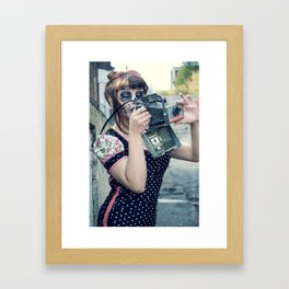 There's nothing like a girl and her 1950's camera. Framed Art Print