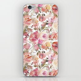 Pastel coral pink watercolor hand painted roses floral iPhone Skin