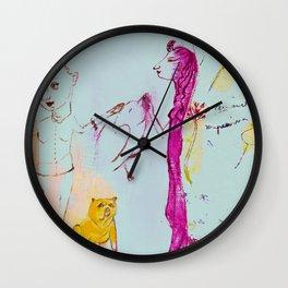 Girls, bird, dog Wall Clock