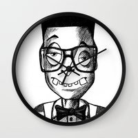 swag Wall Clocks featuring Nerd Swag by DeMoose Art
