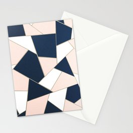 Navy Blue Blush White Gold Geometric Glam #1 #geo #decor #art #society6 Stationery Cards