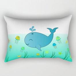 Happy baby whale Rectangular Pillow