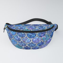 Sparkly Shades of Blue & Silver Glitter Mermaid Scales Fanny Pack