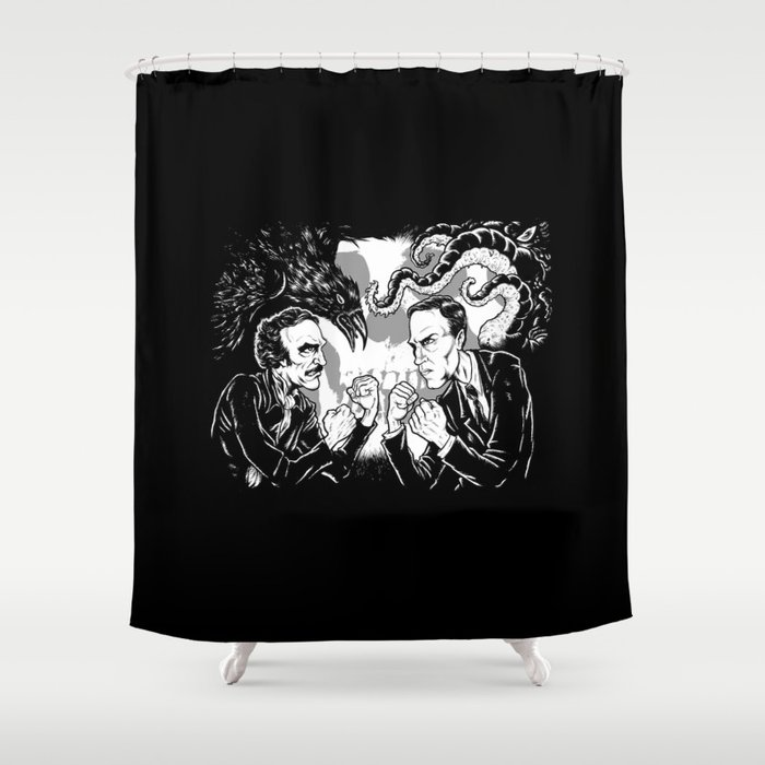 Poe vs. Lovecraft Shower Curtain