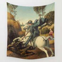 Saint George and the Dragon Oil Painting By Raphael Wall Tapestry