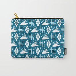 Mid Century Modern Boomerang Abstract Pattern Peacock Blue Carry-All Pouch