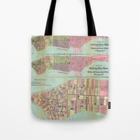 political Tote Bags featuring Vintage NYC Political Ward Map (1870) by BravuraMedia