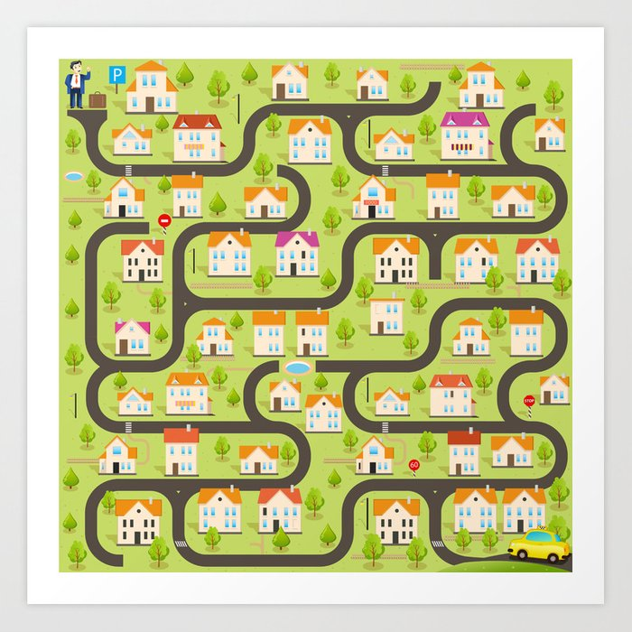 Vector Funny Maze Game Map Of Cartoon Small Town Art Print By