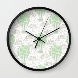 Vintage hot air balloons line drawing pastel green Wall Clock
