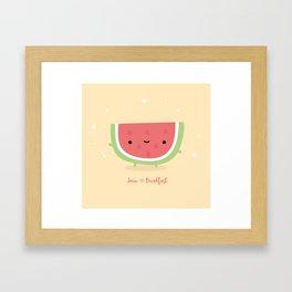 Kawaii watermelon Framed Art Print