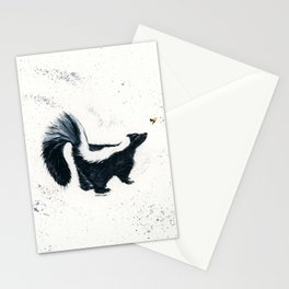 Curious Skunk - animal watercolor painting Stationery Cards