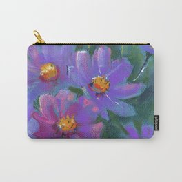Garden flowers (Cosmos bipinnatus, Mexican aster) pastel painting on pastel paper) Carry-All Pouch