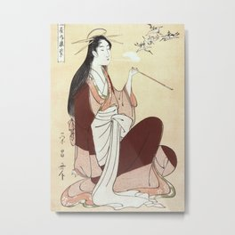 Komurasaki, a courtesan from the Tsunotamaya house  Metal Print