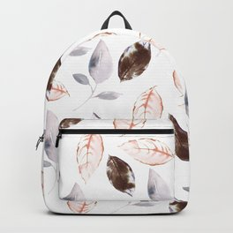 Brown lilac coral watercolor hand painted leaves Backpack