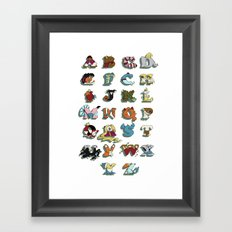 The Disney Alphabet - White Background Framed Art Print