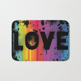 For Love - Black Background Bath Mat