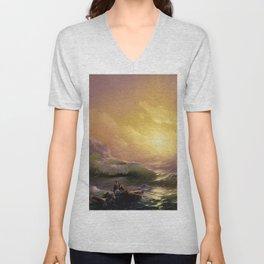 The Ninth Wave nautical sunset ocean storm landscape masterpiece by Ivan Aivazovsky Unisex V-Neck