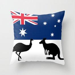 Australian Flag with Emu and Kangaroo T-Shirt Throw Pillow