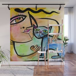 My Crazy Cat No. 2 by Kathy Morton Stanion Wall Mural