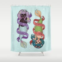 patriarchy Shower Curtains featuring ♀ Crush the patriarchy ♀ by ♡ SUSHICORE ♡