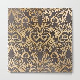 Gold swirls damask #5 Metal Print