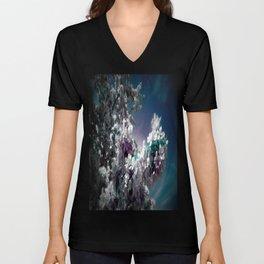 Flowers Purple & Teal Unisex V-Neck