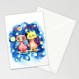 Two owls and a starry night Stationery Cards