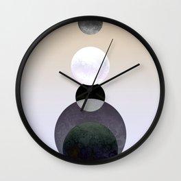 Geometric Moon Beige Wall Clock