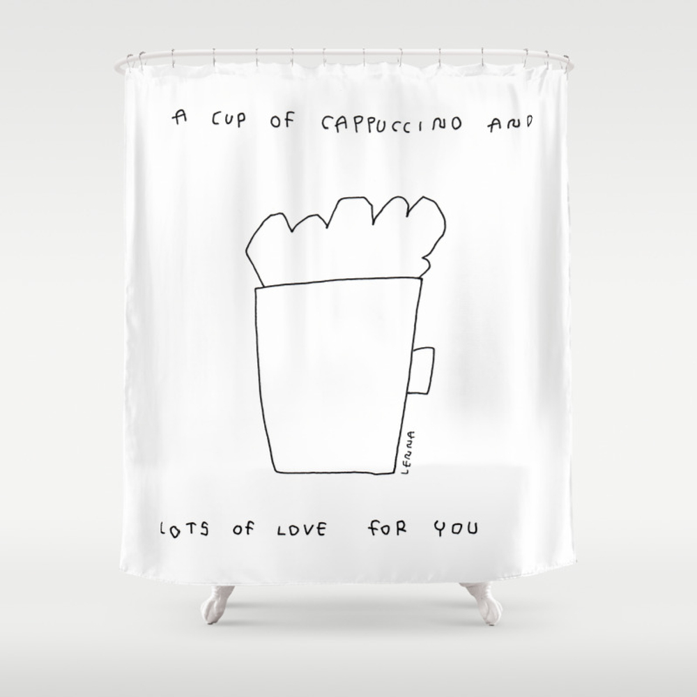 A Cup Of Cappuccino And Lots Of Love For You - Cof… Shower Curtain by Blackandwhitebylennaarty CTN8848268