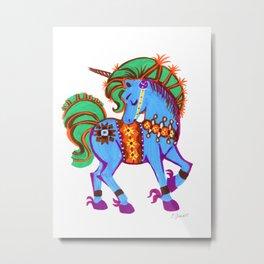 Blue Data Unicorn Magical horse Metal Print