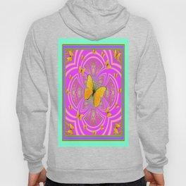 Golden Butterflies Aqua-Purple-Pink-Fuchsia  Patterns Hoody