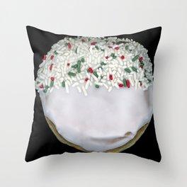 White Sprinkles Donut Throw Pillow