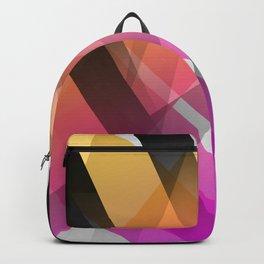 Transparent Yellow Orange Fuchsia Geomtric Shapes Backpack