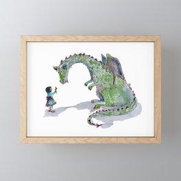 Princess and dragon Framed Mini Art Print