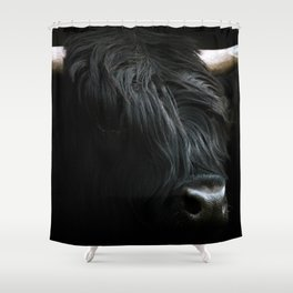 Minimalist Black Scottish Highland Cattle Portrait - Animal Photography Shower Curtain
