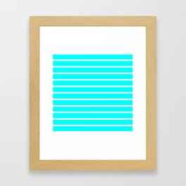 Horizontal Lines (White/Aqua Cyan) Framed Art Print