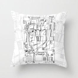 Conversation - b&w Throw Pillow